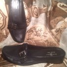 DUCK HEAD WOMEN'S BLACK LEATHER WEDGE HEELS BUCKLE SIDES MULES SHOES SIZE 8M