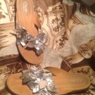 CLARKS  BENDABLES SILVER LEATHER FLOWERED THONG SANDALS WOMEN'S Sz 8M (83478)