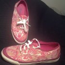 **KEDS** LACE UP SNEAKERS WOMEN'S SIZE 7M SHINY WINE & GOLD FLOWER PATTERN NICE