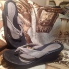 SKECHERS GRAY-SILVER SPARKLY WEDGE THONG SANDALS WOMEN'S SIZE 10M