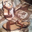 WOMEN'S NATURALIZER N5 BROWN & COPPER COMFORT LEATHER SANDAL SHOES Sz 9N