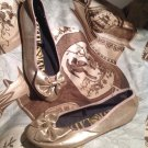 SAM & LIBBY WOMEN'S GOLD BALLET FLATS SHOES WITH BOWS SIZE 6M