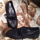 DEXTER USA COMFORT CLASSICS WOMEN'S BLACK LEATHER T-STRAP MOC LOAFERS FLATS 7M