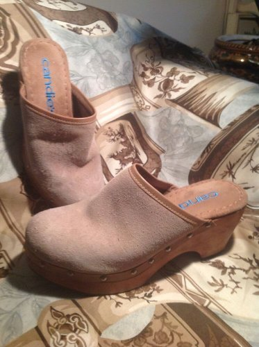 Vintage 80s 90s Candies Wood Sand Suede Clogs Mules Chunky 7m Womens