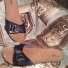 MOSSIMO WOMEN'S BLACK ONE STRAP FOOTBED BUCKLE SANDALS SHOES Size 8M