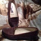 WOMEN'S SLIP ON LOAFERS MOOTSIE TOOTSIES SIZE 7.5M BROWN WEAVE LEATHER UPPERS