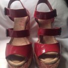Big Buddha Women's Red Patent Leather Platform Weave Heels Shoes Sz 9M MRSP $65