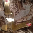 ENZO ANGIOLINI AEZANY GOLD LEATHER SANDALS SLIDES WOODEN HEELS WOMEN'S SIZE 8.5M
