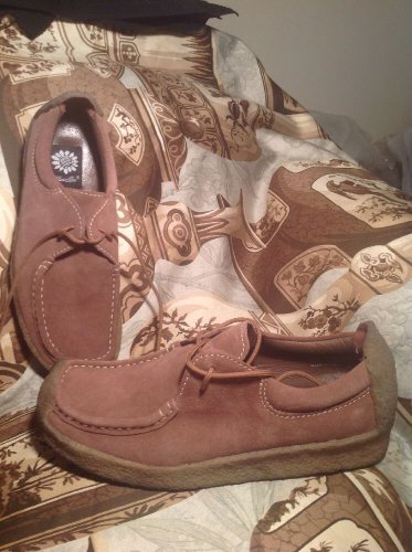 WOMEN'S YELLOW BOX NOAH TAN SUEDE LEATHER LOAFERS BOOTIES SHOES SIZE 9M LACE UP