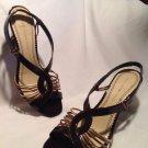 Women's Bandolino Brown Bronze & Metallics Leather Wedge Heel Sandals Sz 7M Shoe