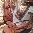 Earth Origins Women's LEATHER Brown Shea Slingback Strappy Sandals 9M SHOES