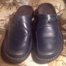 CLARKS WOMEN'S BLUE LEATHER CASUAL COMFORT SLIP ON MULES/Clogs SIZE 5M #83663