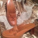 WOMEN'S RELATIVITY JESSIE LIGHT BROWN LEATHER HEEL MULES CLOGS SHOES SIZE 7.5M