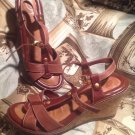 WOMEN'S NUTURE HAWKINS LEATHER CHESTNUT BROWN STRAPPY WEDGE SANDALS SIZE 7M
