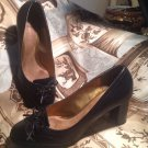 DOCKERS WOMEN'S PUMPS CLASSICS SIZE 8M BLACK LEATHER BOW TOE CHUNKY HEEL SHOES