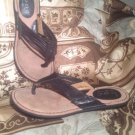 B.O.C BORN CONCEPT WOMEN'S BLACK LEATHER FLIP FLOPS THONGS SANDALS SIZE 6M