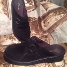 CLARKS WOMEN'S SHOES MULES 6M  BLACK SUEDE LEATHER WEDGE HEELS CIRCLE ACCENTS