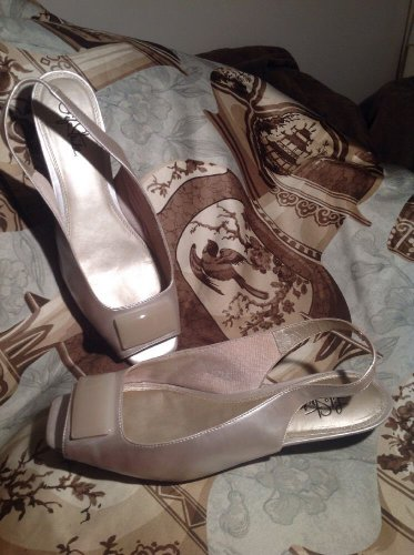 LIFE STRIDE MARIAH WOMEN'S PEARL PATENT SLINGBACK OPEN TOE PUMPS SANDALS SZ 10M
