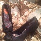 ROCKET DOG WOMEN'S BLACK SATIN FABRIC PLEATED DRESS PUMPS HEELS SHOES SZ 8M