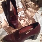 WESTIES TORRENTO BROWN LEATHER WOMEN'S LOAFERS CHUNKY HEELS PUMPS SIZE 7M SHOES