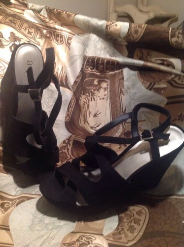 """WOMENS ANA A NEW APPROACH BLACK SUEDE WEDGES SZ 10M SHOES 4.5"""" HEELS SANDALS"""