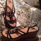 YELLOW BOX Womens SZ 9.5M BLACK Patent Leather Strappy Wedge Sandals Cork