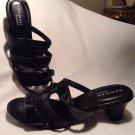 Hannah Comfort Heel Open Toe Sandal Women's Patent Leather Shoes Size 9M Black