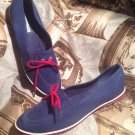 GRASSHOPPERS NAVY BLUE RED WHITE LOAFERS SLIP ON SNEAKERS DECK BOAT SHOES 8.5S