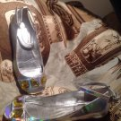 BCBGENERATION BCBG FLAT SHOES SILVER METALLIC HAWAII ANKLE STRAPJEWELS SIZE 7.5M