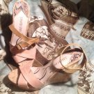 SAM & LIBBY KELLY PEACH & BROWN WOMEN'S WEDGE STRAPPY ANKLE STRAP SANDALS 9M