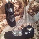 EUC Jessica Simpson Leandra Ballet Flat Black Silver Sparkle Girls Shoes 12.5M