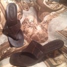 RAMPAGE WOMEN'S BROWN THONG DRESS SANDALS HEELS SLIDES SHOES SIZE 7M MRSP $60