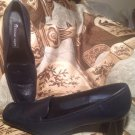 WOMEN'S ETIENNE AIGNER MIDLAND BLUE LEATHER PUMPS W/ SQUARE TOE HEELS - Sz 6M