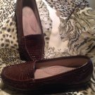 SAS Sz 8N US Womens Simplify Brown Croc Print Tripad Comfort Loafers Shoes