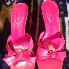 Leather Michelle D Low Heeled Open Toe Backless Sandal/Slide Women's 8.5 M Pink