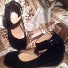 FOREVER LINK BLACK WOMEN'S PATRICIA-03 ANKLE STRAP FAUX SUEDE WEDGE PUMPS 6.5M