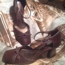 GIANNI BINI WOMEN'S BROWN LEATHER ANKLE STRAP HEELS PUMPS SHOES SIZE 7.5M
