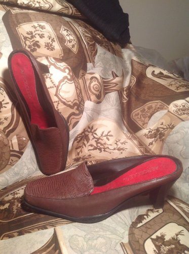 AEROSOLES CINCH WAIST BROWN LEATHER MULES HEELS SQUARE TOE WOMEN'S SZ 6M SHOES