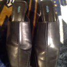 NICOLE TRADITION Women's Black Leather Ribbed Stitched Heels Mules 10M NICE