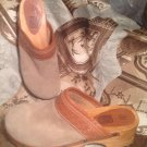 FADED GLORY SAMMI WOMEN'S TAN SUEDE LEATHER MULES CLOGS SLIDES SHOES SIZE 8M