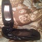 RIALTO SUNNYSIDE BLACK BALLET FLATS SHOES WOMENS SIZE 8M MATTE W/PATENT BOW TOE