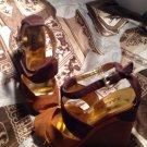 BAKERS WOMEN'S TRI COLOR BROWN SUEDE LEATHER PEEP TOE WEDGE PLATFORM HEELS 7M