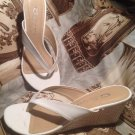 "CL BY LAUNDRY WOMEN'S SIZE 6M WHITE THONG SANDALS WITH 2.5"" BASKET WEAVE HEEL"
