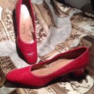 DE LISO DEBS VINTAGE VIP REPTILE PRINT CALI WOMEN'S HEELS/SHOES RED Pumps 7B