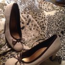 Predictions Beige Cream WITH BROWN BOW Canvas Fabric Pump Heels WOMEN'S SIZE 5M