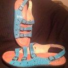 FLEXUS SPRING STEP WOMEN'S ADRIANA 11.5M LEATHER CLASSIC SLINGBACK SANDALS BLUE
