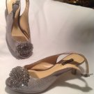 ALEX MARIE Women Silver Suede & Leather High Heel Slingback Shoes SZ 6M