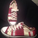 CONVERSE BURGANDY TAN STRIPE ALL STAR UNISEX SNEAKERS - Size Men's 8/ Women's 10