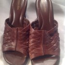 Womens St Johns Bay Brown Leather Weaved Strap Wedge Sandals Shoes SZ 10M Pretty