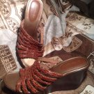 WOMEN'S ST JOHN'S BAY BROWN LEATHER WEAVE WEDGE HEEL SANDALS SHOES SIZE 11M